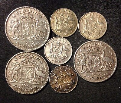 Old Australia Coin Lot - 1942-1943 - 7 Sterling Silver Coins - Lot #722