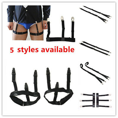 Mens Shirt Stays Garters Elastic Nylon Adjustable Crease-Resistance Suspenders