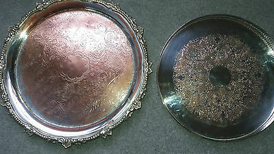 2 Antique/vintage silver plated trays - drinks trays
