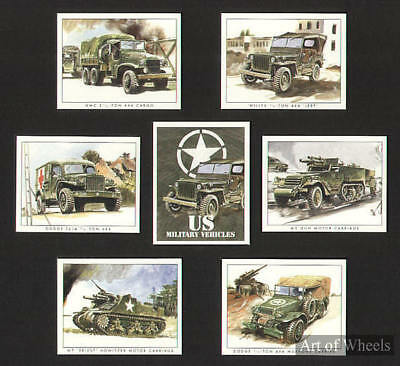 US Military Vehicles WW2 Tanks Jeeps Print Trade Cards