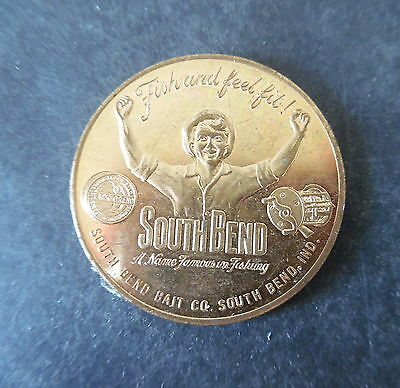 Vintage South Bend Fishing Reel Co Good Luck Token Advertising Medal