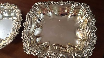 477g SET 2 TRAYS bowls HEAVY CARVING ALLEGORICAL SCENES STERLING SILVER