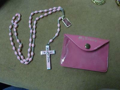 Pink Travel Rosary in Case - Made in Italy - Quadruple Interlock Links - 17""
