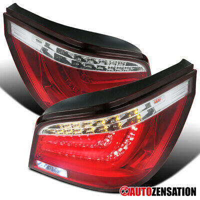 2004-2007 BMW E60 525i/530i 5-Series 4DR Red Clear LED Tail Lights Brake Lamps