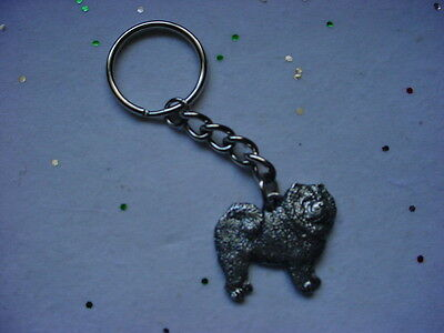 CHOW CHOW Dog PEWTER Silver KEYCHAIN CHRISTMAS ORNAMENT Key Chain Ring Puppy NEW