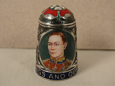 Peter Swingler Silver & Enamel THIMBLE: GEORGE VI. Kings & Queens Series