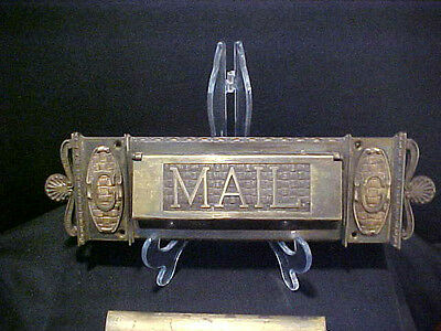 Victorian Reclaimed Ornate Solid Brass Letter Box  Door Mail Slot