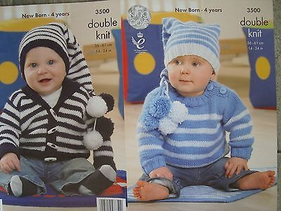 King Cole 3500 Baby's Sweater, Jacket & Hat DK Knitting Pattern Sizes 14-24""