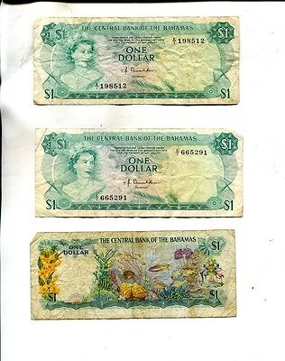 Bahamas 1974 $1 Currency Note Lot Of 3 Vg F 9884J