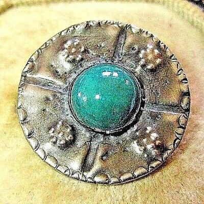 Old Vintage Art Nouveau Tiny Art & Crafts Ruskin Design Pewter Pin Brooch
