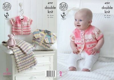 King Cole Baby Cardigans & Blanket Drifter for Baby Knitting Pattern 4797...