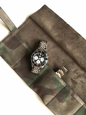 JPM Genuine Camo Suede Leather Luxury Six Watch Travel Pouch Roll Made In Italy