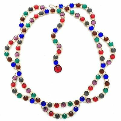 "Vintage Multicolor GLASS CABOCHON Rhinestone CHAIN FESTOON BELT~35"",fjt"