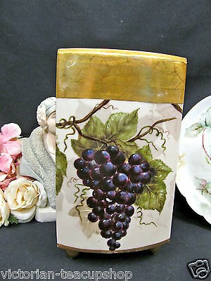 Limoges France Handpainted Large Vase Grapes & Gold Footed Vase