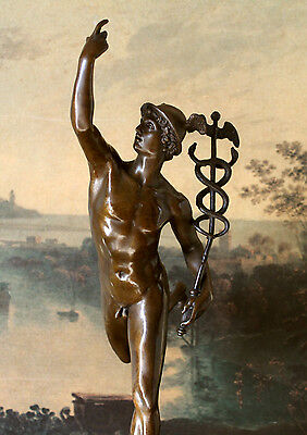 Hermes Rare Male Nude Mercury Medical Caduceus Bronze Marble Statue MD RN Office