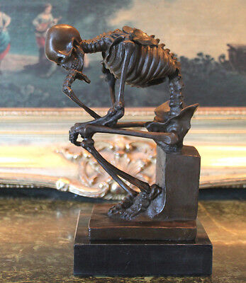 Skeleton Thinker Nurse Doctor Medical Student Office Gift Bronze Marble Statue