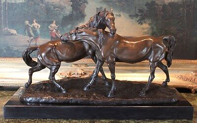 Rare Thoroughbred Equestrian Art 2 Horses Playing Bronze Marble Statue Sculpture