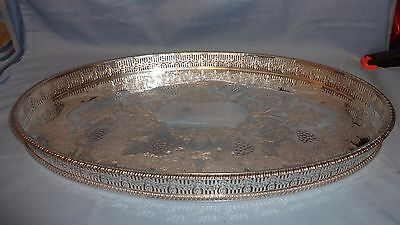 Vintage Viners Ornate Oval Silver Plated Serving Tray With Raised Gallery