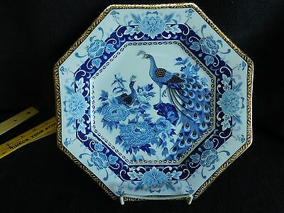 "Eiwa Kinsei Japanese Porcelain Decorative Square Plate 10"" BLUE WHITE PEACOCK"