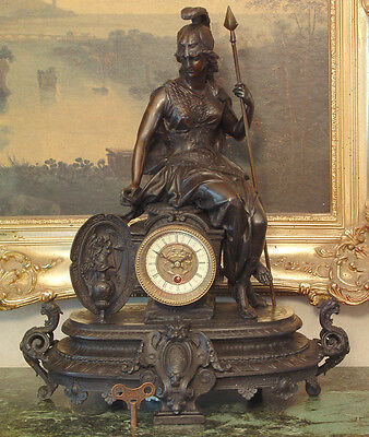 Mantel Empire Shelf  Bronze Clock Military Warrior Goddess Spear Works Key Art