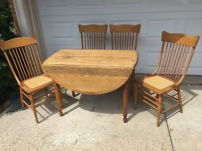 19 Century Oak Dropleaf Table & 4 Spindle Back Chairs Pick Up 48236