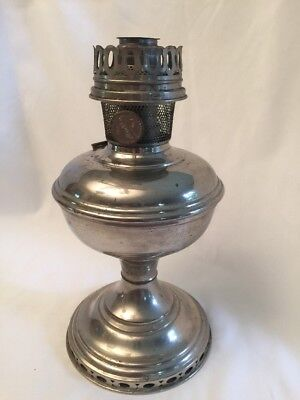 Vintage ALADDIN Kerosene Oil Lamp Metal Pedestal Base Model 9 Burner W/ Ring