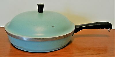 "Vintage Turquoise Club Aluminum 10"" Skillet Frying Pan With Domed Lid"