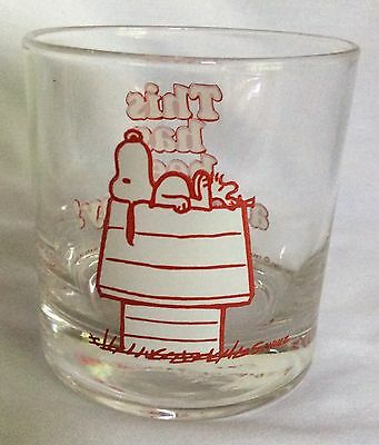 Vintage Peanuts Snoopy This Has Been A Good Day Drinking Glass Red