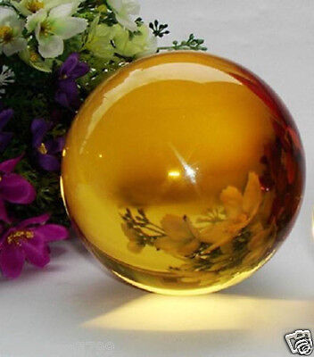 Asian Rare Natural Quartz yellow Magic Crystal Healing Ball Sphere 40mm +Stand V