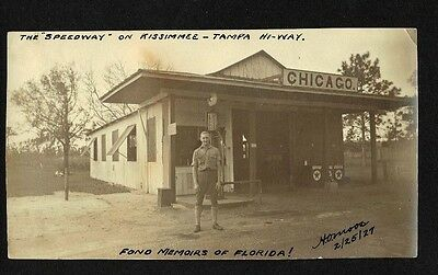 1927 Texaco Service Station Gas Pump Oil Pumps Kissimmee Tampa Fl Highway Photo