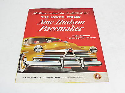 * Vtg The Lowered Priced New Hudson Pacemaker Automobile Brochure *