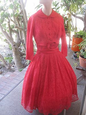 VINTAGE 1950s 60s LACE RED LACE &SATIN PARTY DRESS MATCHING BOLERO JACKET