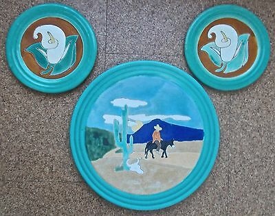 SAN JOSE POTTERY: 'Mexican Desert' Charger & 2 small Calla Lilly plates