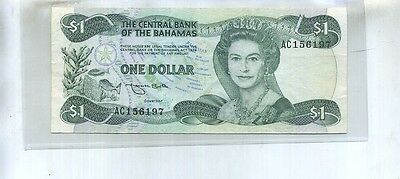 1974 $1 Bahamas Currency Note  Au 61F