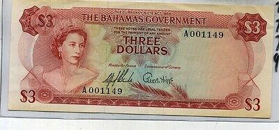 1965 $3 Bahamas Currency Note Au