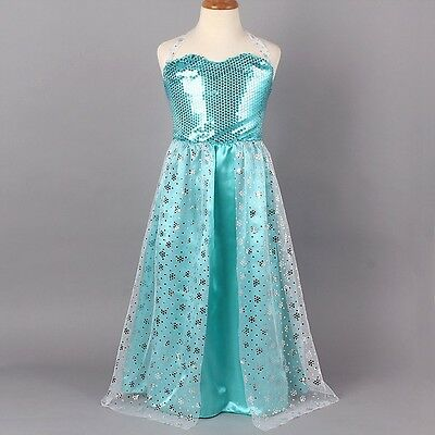 Girls Snow Frozen Princess Elsa Halloween Christmas Cosplay Dress 110#