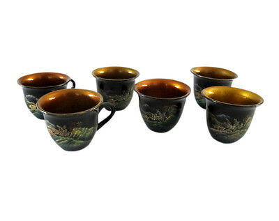 Set of 6 Vintage Japanese Lacquer Hand Painted Teacups