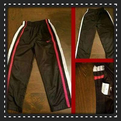 Nike Boy's Black With Red And White Stripe Sweatpants Size 5 Euc