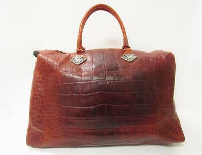 ANN TURK Vintage Brown Croc Print Leather Stamp Metal Weekend Duffle Travel Bag