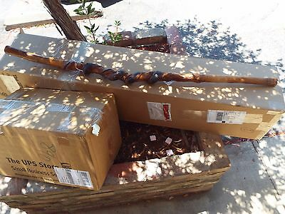 """Rare Large 50"""" Old Native American Indian Snake Carved Wood Ceremonial Staff"""
