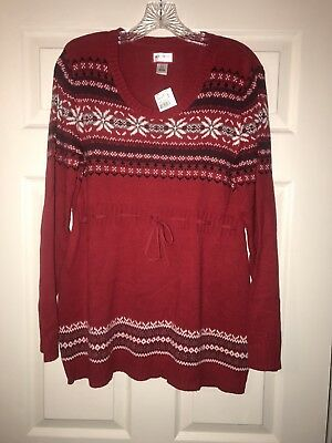 Motherhood Maternity Red Christmas Holiday Sweater NWT Size L
