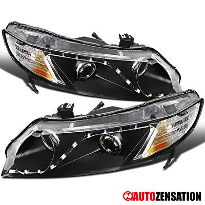 For 2006-2011 Honda Civic 4Dr Sedan Black R8 LED Projector Headlights Lamps