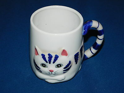Cat Mug Raised Relief Cat tail is handle Adorable