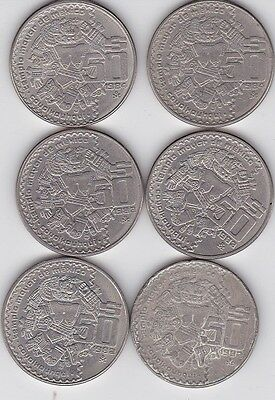 6 x 1982 to 1984  $50, 50 PESOS COYOLXAUHQUI Nice Mexico Copper Nickel COIN