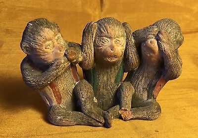 Vtg Hand Made Etched Painted Pottery SPEAK - HEAR - SEE NO EVIL Monkey Figurine