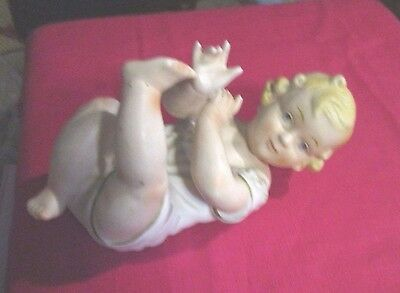 Vintage Large Cherubic Bisque Piano Baby Girl Beautiful Hand Painted Features