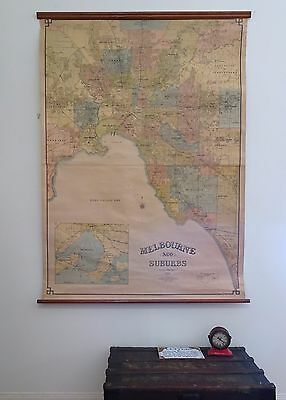 Original Vintage HUGE 1950's Canvas Wall Map of Melbourne City and Suburbs
