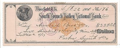 "1900 Moorefield West Virginia Bank Check RN-X7 ""Cow"""