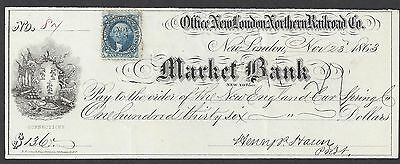 1863 Hartford Connecticut Railroad Bank Check