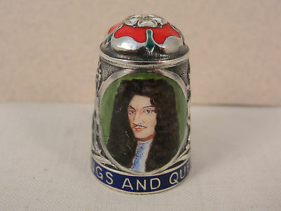 Peter Swingler Silver & Enamel THIMBLE: KING CHARLES II. Kings & Queens Series